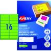 AVERY L7162FG LASER LABELS 16/Sht  99.1x34mm Fluoro Green