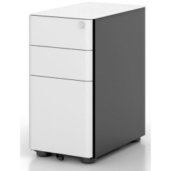 ETERNITY SLIMLINE MOBILE PEDESTAL W300xD535xH580mm White/Black