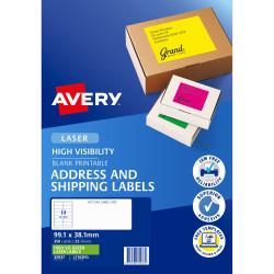 AVERY L7163FG LASER LABELS 14/Sht 99.1x38.1mm Fluoro Green 350 Pack