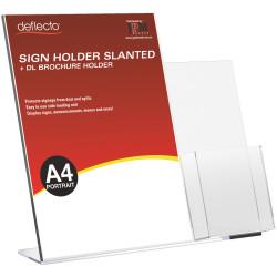 DEFLECT-O SIGN HOLDER SLANTED Dl Brochure Pocket A4 Portrait