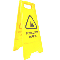 CLEANLINK SAFETY SIGN Forklifts In Use 32x31x65cm Yellow