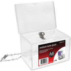 DEFLECT-O DONATION BOX A6 Landscape Lock,Header Clear