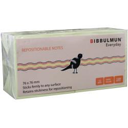 BIBBULMUN STICKY NOTES 76X76mm Yellow Pack of 12